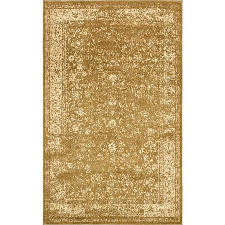 Victoria Gold and Cream 5 ft. x 8 ft. Area Rug