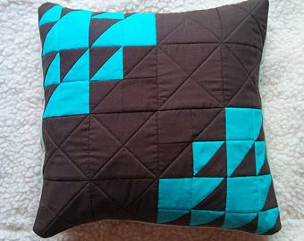 brown and teal cushioncover, quilted pillowcase