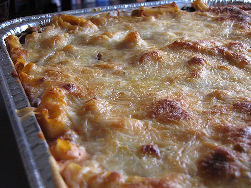 Baked Ziti: Freezer meal that also feeds a crowd, this is a large batch recipe perfect for upcoming reunions, parties, weddings, etc. or make several family sized pans for future meals.