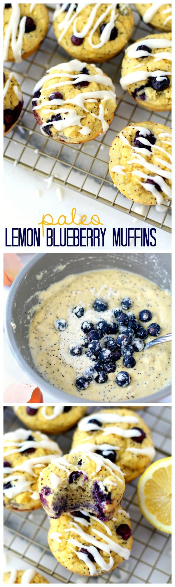 Paleo Lemon Blueberry Muffins - Moist and flavorful healthy blueberry muffins made w/ @bobsredmill & w/out refined sugar or butter. No one will ever be able to tell that these muffins are better for you! {BobsSpringBaking AD}