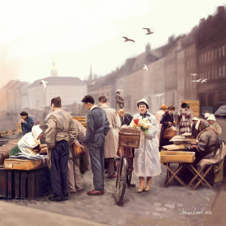 The fishmarket on Gammel Strand in Copenhagen, probably sometime in the 1950s. Digital painting by Jonas Linell 2016.