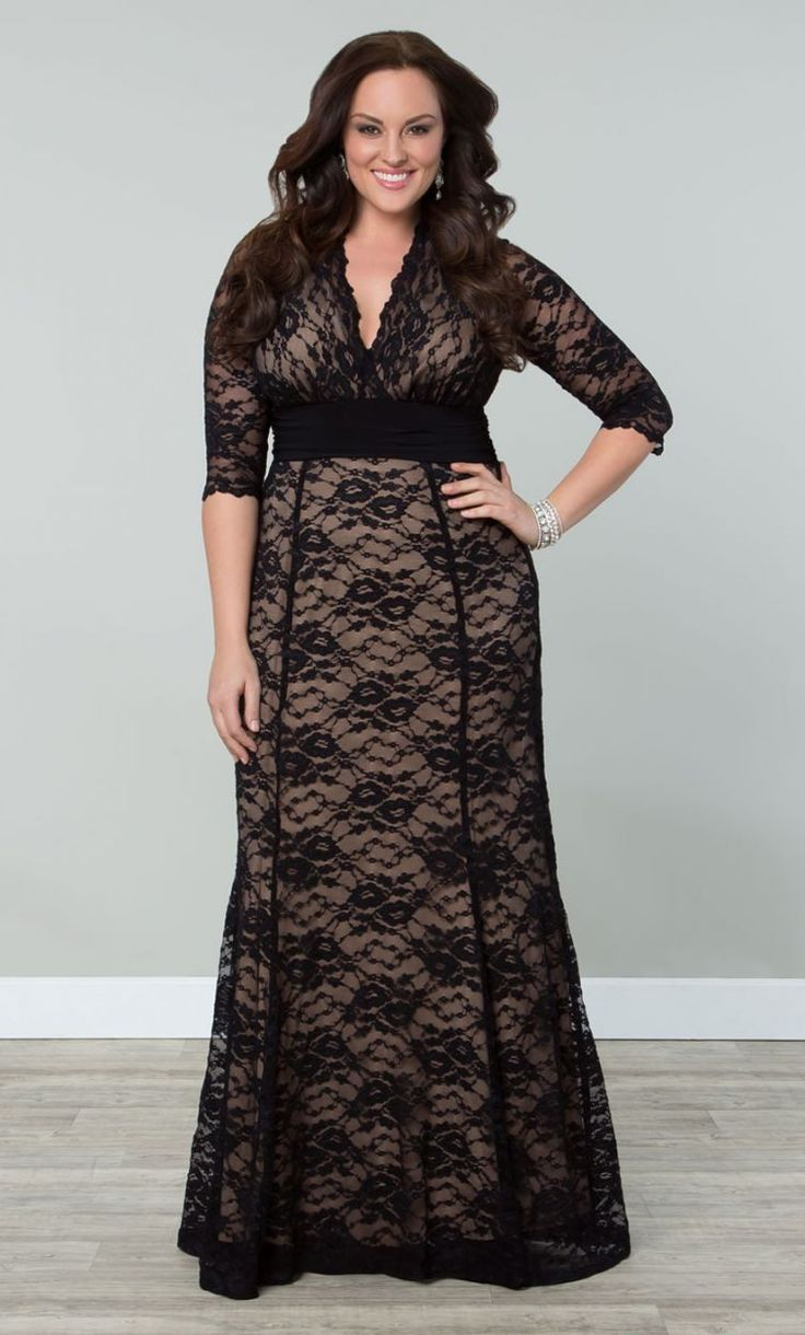 Screen Siren Lace Gown, Black Lacenude Lining Womens -2050