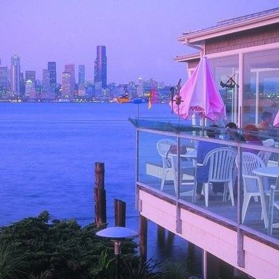 Salty's on Alki Restaurant in Seattle, WA.  The view is great. Salty's Seafood Grills on Alki Beach in West Seattle.