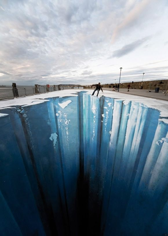 cool chalk optical illusion  This guy does amazing work, but I could not walk on his drawings would be too freaked out!!