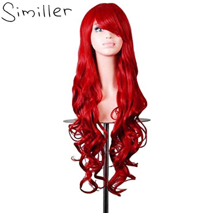 "Similler 32"" Women Long Hair Heat Resistant Lolita Curly Cosplay Wig Anime Harajuku Costume Red Green Blue Black Purple Grey"