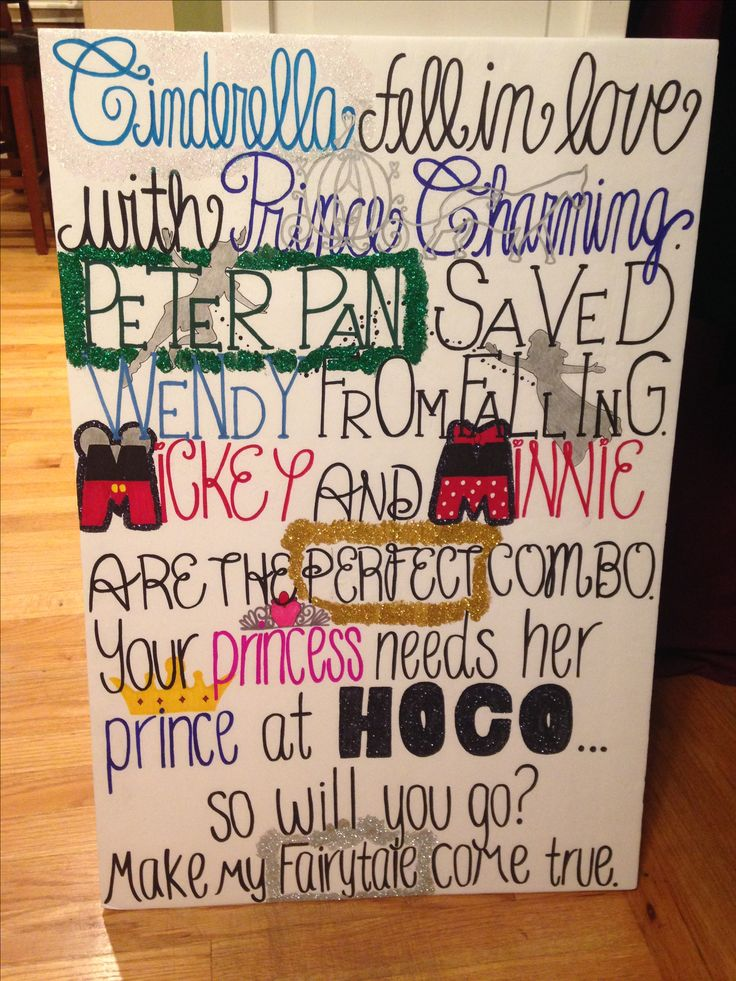 Disney themed homecoming proposal