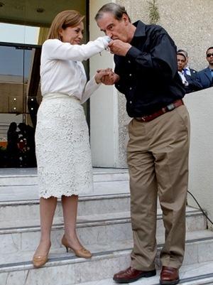 PAN's Presidential Candidate Josefina Vazquez Mota and Former President Vicente Fox (Mexico)