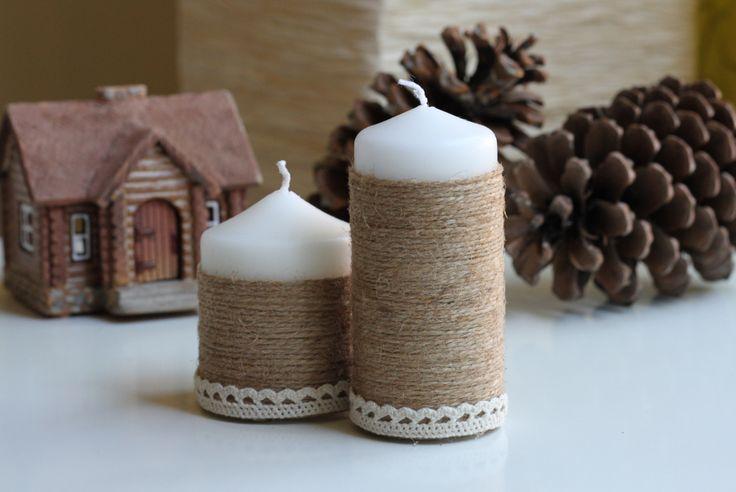 Velas decoradas con cuerda y puntilla. Candles decorated with rope and lace. #DIY #handmade #decoration