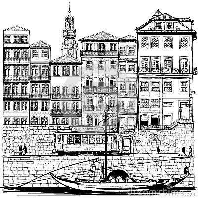 Resultado de imagem para linha da ribeira do porto ilustração