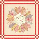 Printemps by 3 Sisters pattern combining Dresden plates and Hexagons from Moda Fabrics.