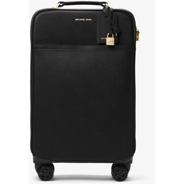 MICHAEL Michael Kors Large Saffiano Leather Suitcase ($598) ❤ liked on Polyvore featuring bags, luggage and black