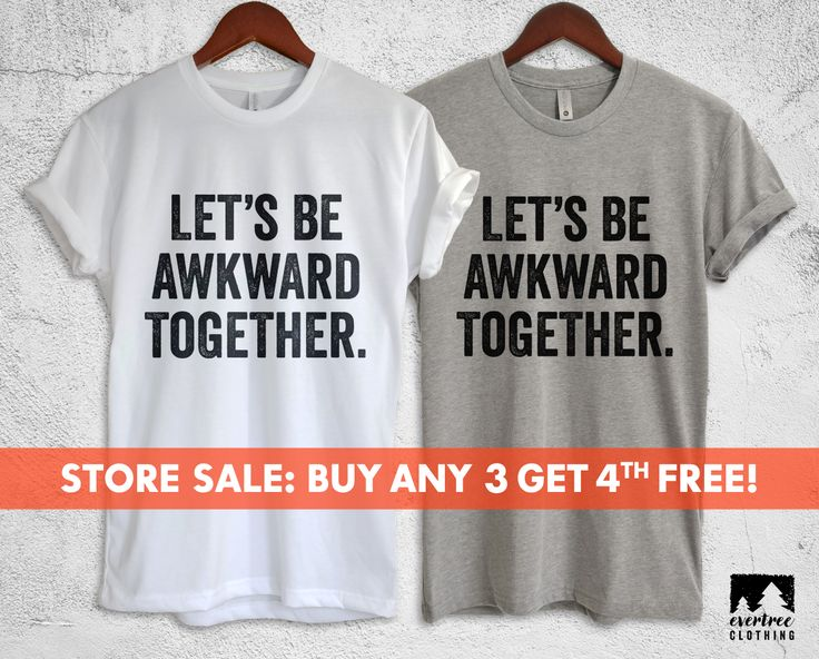 Let's Be Awkward Together Couples Shirts, Funny Couples Sh Awkward Shirt, Best Friend T-shirt, Shy Girl, BFF shirt, just marriedirt, Hi I'm