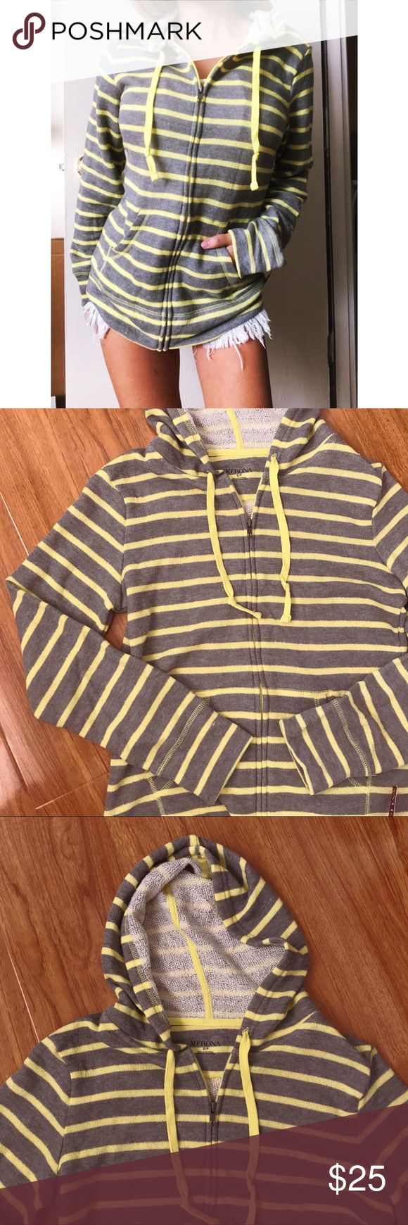 NWT Grey/Neon Striped Zip Up Hoodie This hoodie is NWT!! Excellent condition. Features a zip up light weight jacket with yellow self tying strings. Hoodie attached. Two front pockets. Super cute! Pair with jeans and boots! Fits like a true small. Offers welcome!! 😘 Jackets & Coats