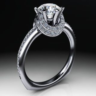 Platinum accenting high diamond double collar with center six prong center setting. Side diamond accents down each side of ring shank.accents any center diamond that is set into it. Can be adjusted only for center diamond setting. This is a limited design edition and no other alterations can be made on this unique engagement ring creation.  * All unique designs do not include center diamond or gemstone. Center can either be supplied by JewelSmiths or client.