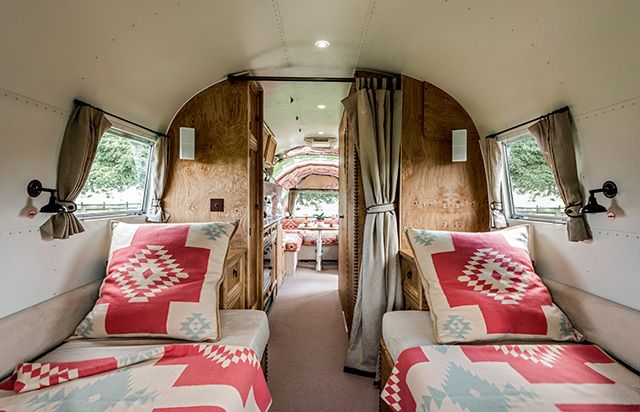 Ralph Lauren-inspired Airstream - another view. great curtain divider!