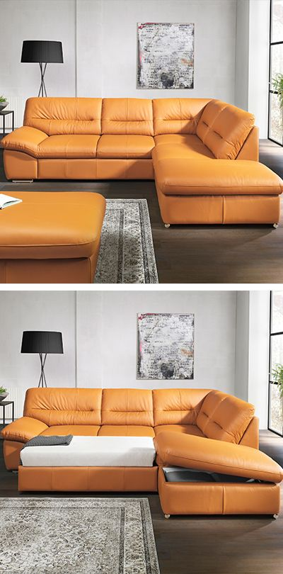 Wohnlandschaft Orange Leder Design Sofa Leder / Moderne Couch - wohnzimmer rot orange