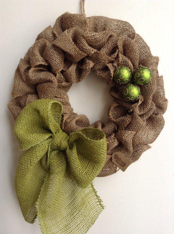 Burlap Christmas Wreath Tan Wreath Green Christmas