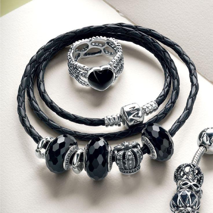 Pandora black leather bracelet idea