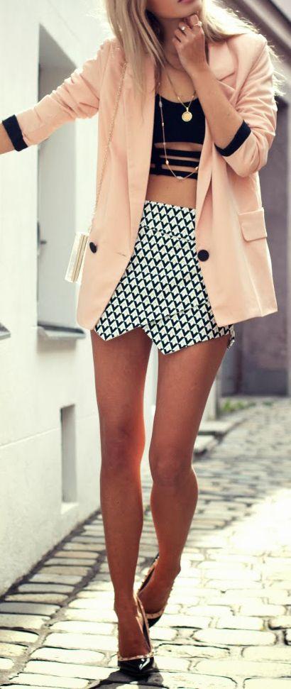 peach blazer, black prints + valentino rock stud heels