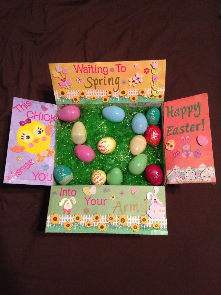 53 best care package box decoration images on pinterest armed just finished making this easter package for my hubby bunny everything bought from hobby lobby easter craftseaster ideasholiday craftsboyfriend negle Images