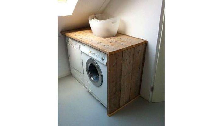 meuble cache machine a laver seche linge palette