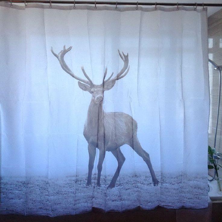 Misty Western Wild Big Antler Deer Shower Curtain