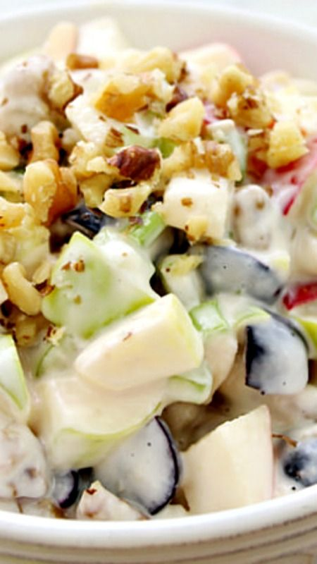 Waldorf Salad ~ Traditional Waldorf Salad is full of fresh apples, celery, grapes and walnuts in a mayonnaise dressing... You can easily add chicken or turkey to make it a complete meal!