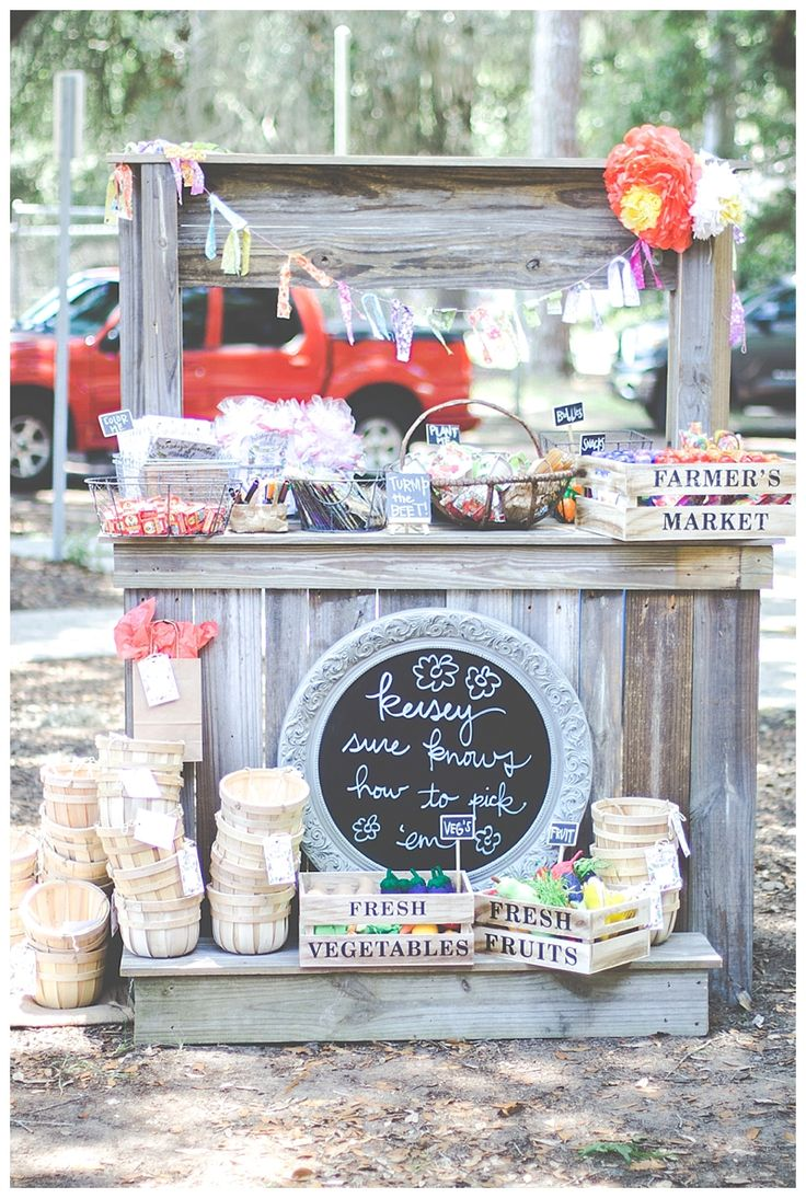 farmers market stand - first birthday party