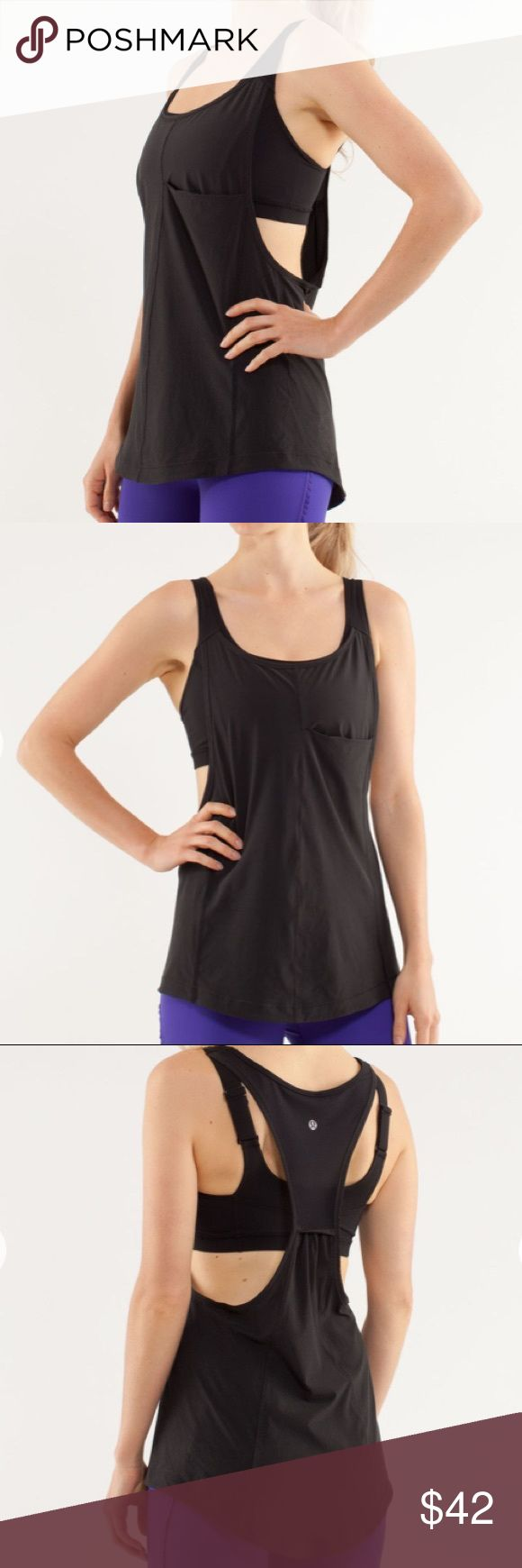 Lululemon Run: For Your Money Tank Breezy tank with a high support bra that has adjustable straps and pockets for optional cups. Longer in back to keep you covered. Low cut arms and racerback allow you to move freely. Small pocket on front to hold key/card/cash... In perfect condition, no snags or pills. First three photos are stock pics. lululemon athletica Tops Tank Tops
