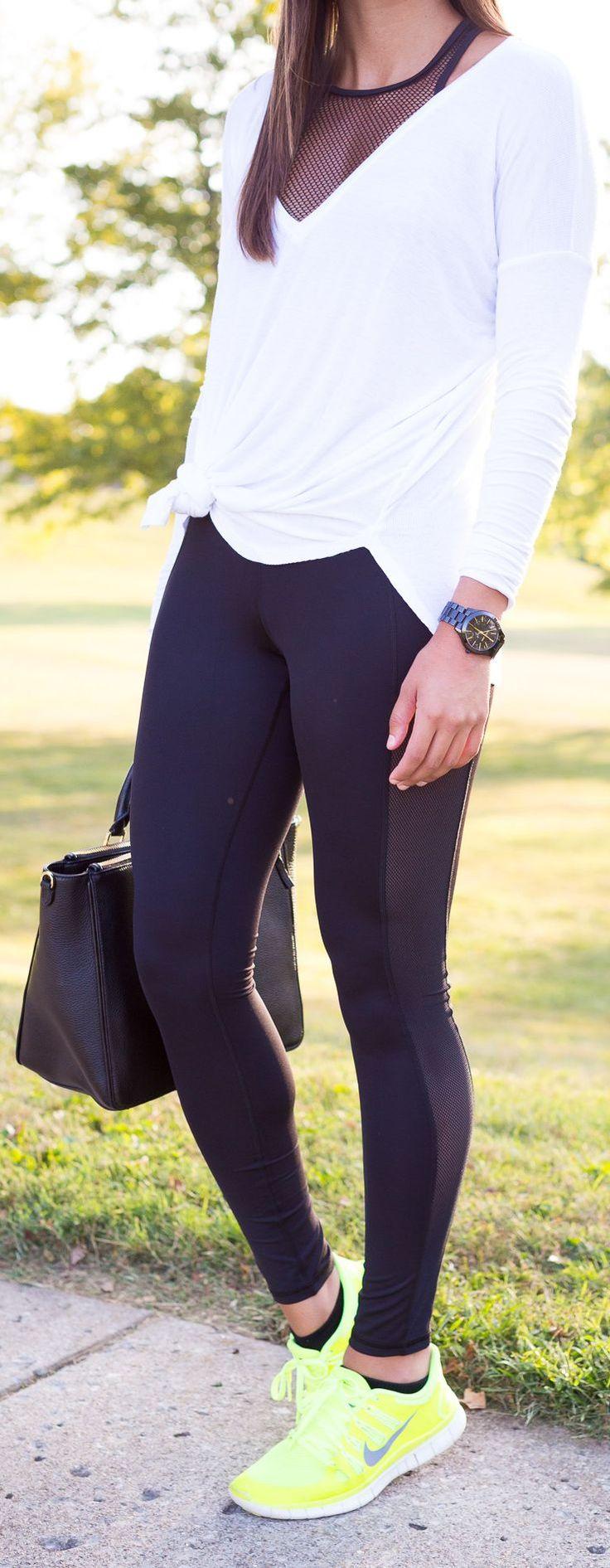 A Southern Drawl: black mesh tank + white longsleeve tee + black workout pants with mesh panel + neon yellow sneakers