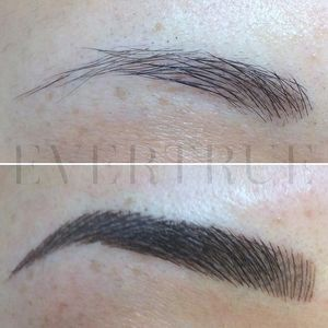 "A beautiful ""powder brow""-- individual strokes with a powder effect to further…"