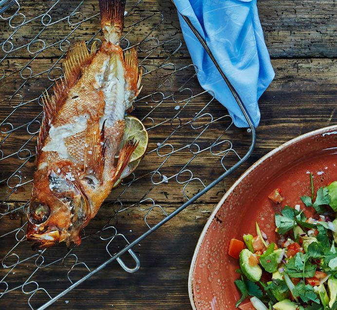 This roasted ocean perch recipe with avocado salsa is the perfect light meal for fans of seafood