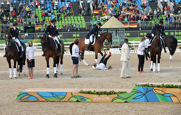 Groom Robbie Sanderson was kicked in the head during the team dressage medal ceremony at the 2016 Rio Olympics.  He was immediately taken to the hospital, where he recieved 10 stitches.  Fortunately, that was the extent of his injuries.  See his account of the incident here: http://www.horseandhound.co.uk/rio-2016-olympics-news/injured-british-dressage-groom-rio-update-588674
