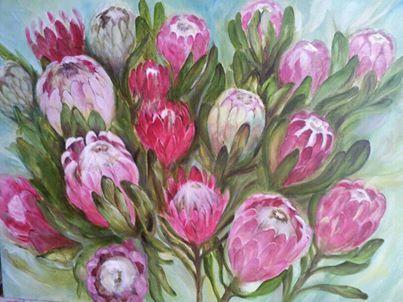 Protea heads. Oil on canvas. Melissa Von Brughan