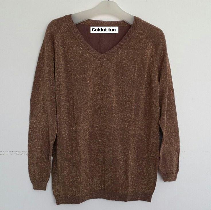 #Sweater Gliter Import Lengan Panjang (B082) ~ 125ribu. Warna : Coklat tua. Bahannya bagus & halus #Bahan rajut. Ukuran : One Size/All size. Fit sampe ukuran XL (LD = 104cm, Pjg baju 60cm)