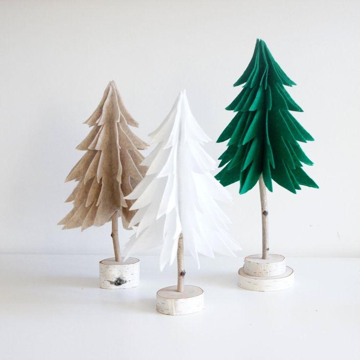 Miniature Forest - felt tree, tabletop decor, birch decor, dollhouse, winter scenery, fir trees, pine trees, modern rustic by urbanplusforest on Etsy https://www.etsy.com/listing/483403391/miniature-forest-felt-tree-tabletop