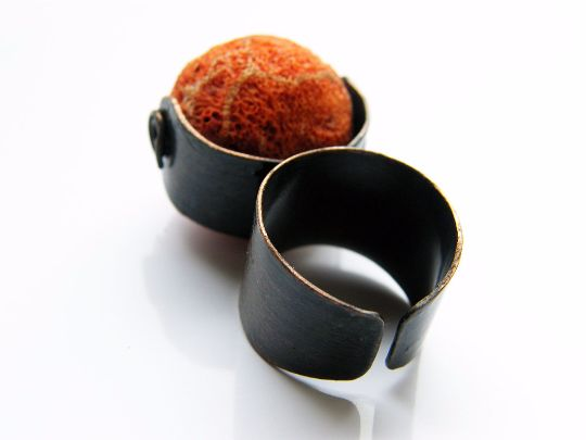 Rings – Red. natural, raw coral copper ring – a unique product by LydiaRED on DaWanda