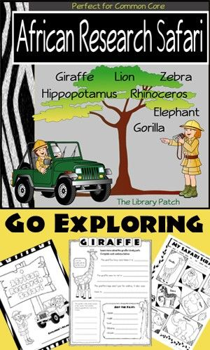 @Holly Hilliker Let your students be adventurers on their own African Research Safari! The Library Patch has created research reports for seven different African animals: giraffe, lion, zebra, hippo, rhino, gorilla, and elephant. Each report comes in two formats ... single lines and primary lines. This project is PERFECT for your unit on Habitats or Animal Life. ($)