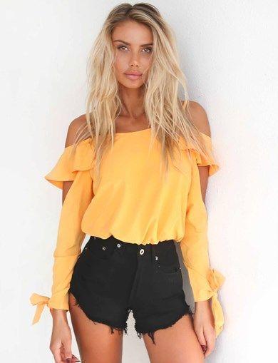 huge selection of fdf3e 34c55 Blusas de moda amarillas juveniles