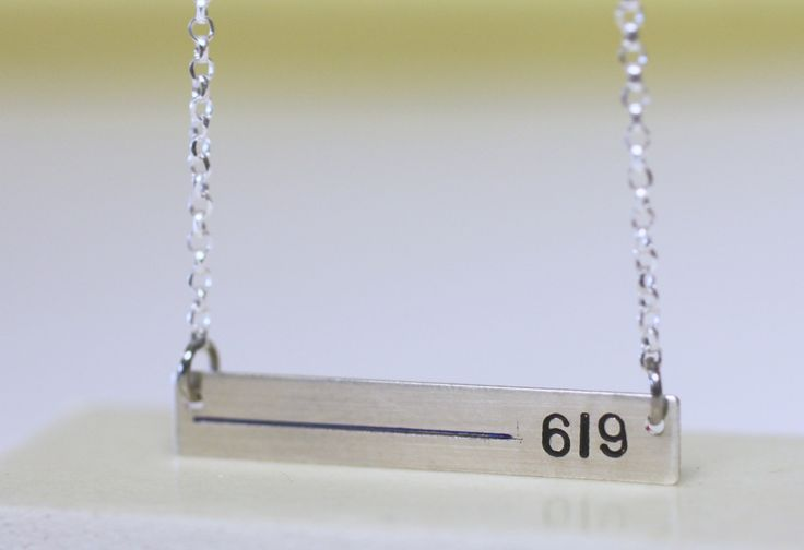 Thin blue line police wife necklace or thin red line Fireman wife necklace. Personalized with badge number