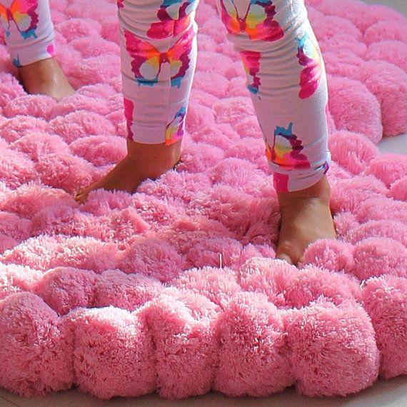 Chica sala alfombra  rosa corazón  Pom Pom por PomPomMyWorld