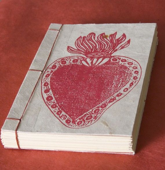 6x4 In. Heart Journal Japanese Stab Binding.Hand-Binded