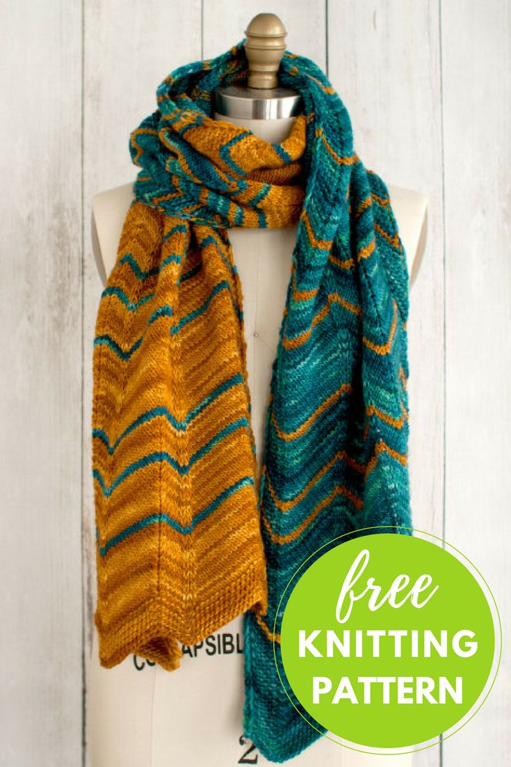 Free Scarf Knitting Pattern - Manos Dentado Chevron Scarf A chevron pattern has never looked better! Created using Manos del Uruguay kettle-dyed Clara yarn, Dentado combines two gorgeous shades to mak