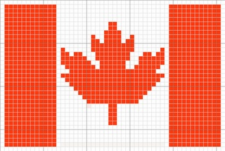 Canadian flag knitting chart--could use fabric squares to make as a quilt