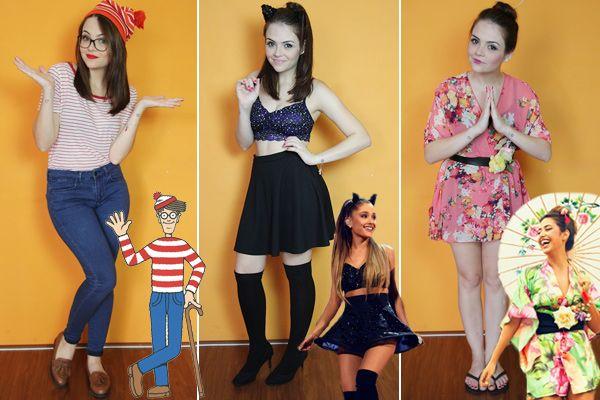 fantasias carnaval fáceis de reproduzir em casa  : wally , Ariana Grande e Gueixa