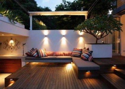 Outdoor bench seating: Courtyards Gardens, Secret Gardens, Outdoor Rooms, Outdoor Living, Dream House, Patio, Outdoor Decks, Decks Lighting, Outdoor Spaces