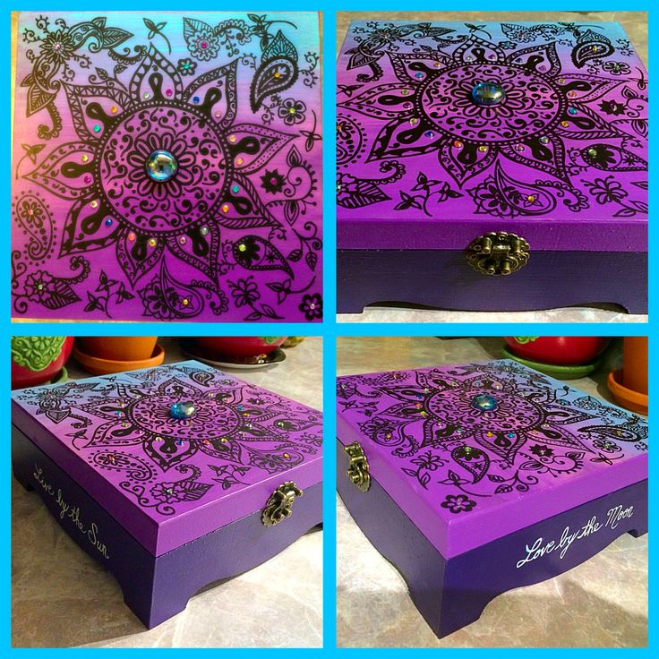 Hand painted treasure box for my bestie. Live by the sun, love by the moon