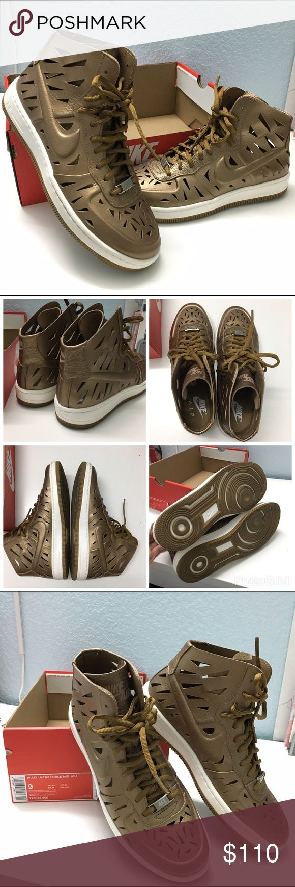 Nike Ultra Force Mid Joli AF1 Brand new in box women's Air Force 1 Ultra Force Mid Joli  Gold - RARE!  Size 9 Women's  Super cute and one of a kind shoes that will surely make your collection unique! Nike Shoes Sneakers