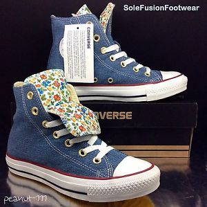 Converse Womens All Star Ditsy Trainers Blue/Red size 4 Floral/Denim Hi EU  36.5
