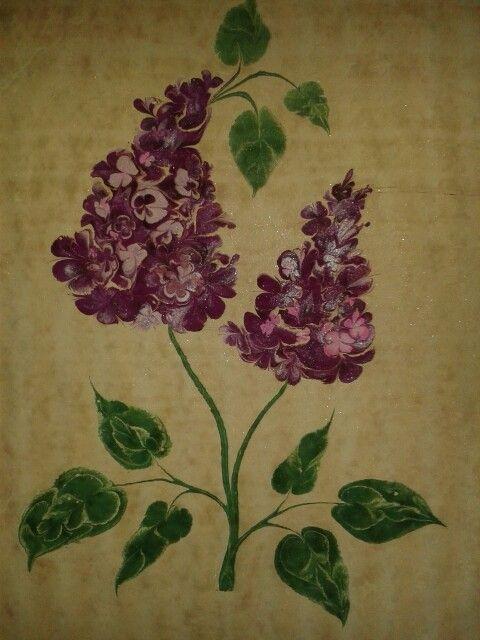 Mor Leylak/ violet purpe flowers. Marbling art. Ebru sanati